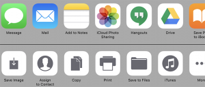 List of sending options, including message, mail, iCloud Photo Sharing, and Drive
