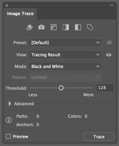 Default image trace panel