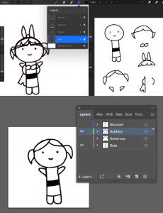 Drawing of character with three different hairstyles and one consistent body type. The body and hairstyles have been drawn on four different layers and moved into the corners of the Procreate canvas.