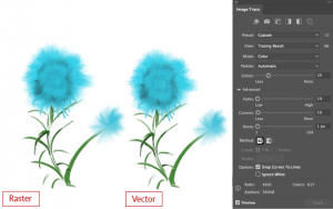 Painterly raster converted to vector with image trace options