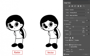 Simple outline raster converted to vector with image trace options