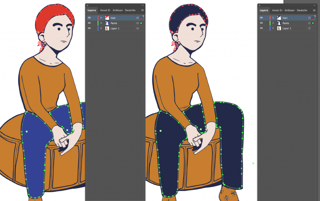 Drawing of character with different fill colors for pants shapes and hair shapes