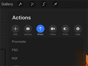 List of actions with share button highlighted